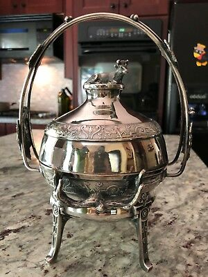 Late 1800's Reed & Barton 720 Silverplated Footed Butter Dome