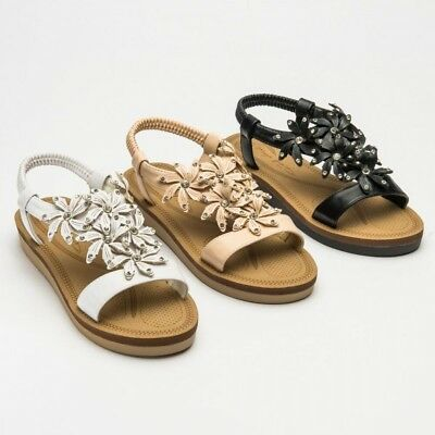 New Womens Ladies Wedge Summer Beach Memory Foam Strappy Comfort Sandals Shoes