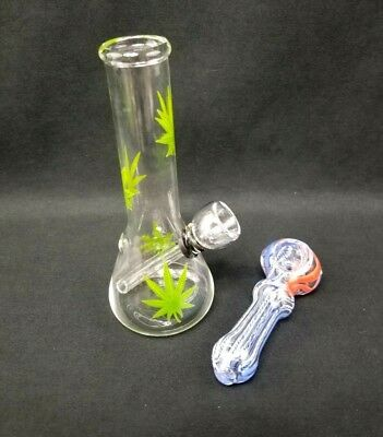 "Hookah Water Pipe Bong Glass 6"" inch Multi Green Leaf Clear Bubbler 3"" Sidekick"