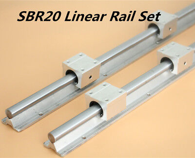 2X Shaft SBR20 L200-1500mm Linear Rail Fully Supported & 4Pcs SBR20UU Bearing
