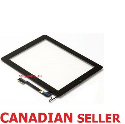 Black Front Glass Touch Screen Glass Digitizer + Home Button Assembly for iPad 4