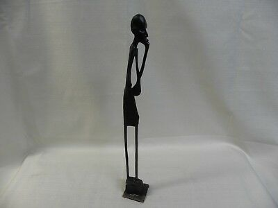 "Hand Carved Tall Slim Wooden African Haitian Black Man 15"" Figurine Sculpture"