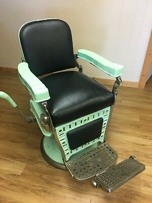 Two Matching Antique Emil J Paidar Barber Chairs 1920-30