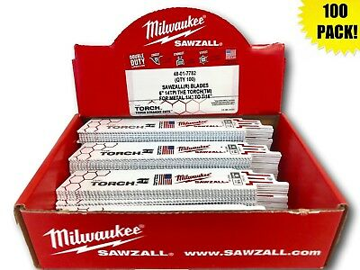 (100 PACK) Milwaukee 48-01-7782 6 in. 14 TPI The Torch Sawzall Blade IN-STOCK