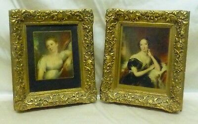 Pair of Antique Sophisticated Lady Prints in Ornate Gold Antique Wood Frames