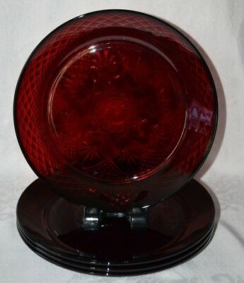 """Luminarc Arcoroc France Ruby Red 10"""" Dinner Plate Set of 4"""