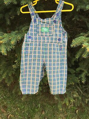 Oshkosh Vintage Baby 6-9 mnths Multi Colored Plaid 100% Cotton Overalls USA Made