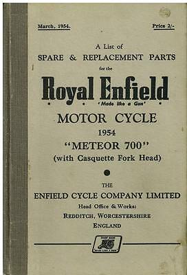 Royal Enfield Meteor 700 Casquette Fork Head Motorcycle Spare Parts Manual 1954