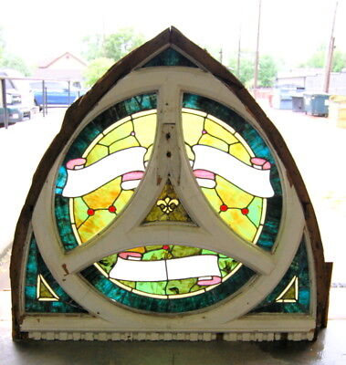 Original Antique Arched Top Stained Glass WIndow, Vintage Architectural Salvage