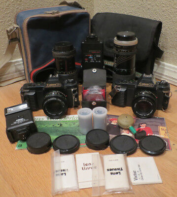 Huge lot of Untested Canon T50 Camera Canon T50 With Lots of Extras and Bags