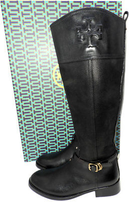 686b1b79d5d1 $495 Tory Burch Simone Riding Boots Tall Flat Equestrian Booties 7-37 Black  Logo