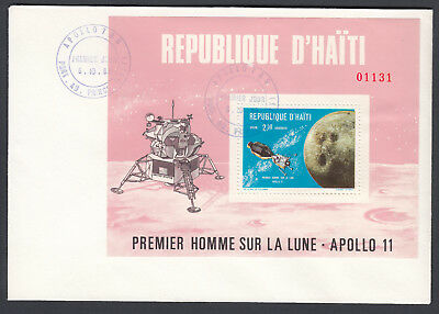 Haiti Apollo 11 Miniature Sheet on 1969 Premier Jour First Day Cover FDC Space