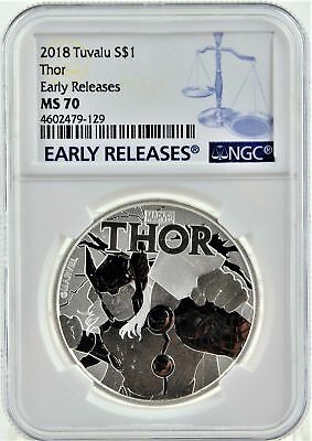 2018 Tuvalu Silver Marvel Thor 1oz NGC MS70 ER + Display Stand! NDS*