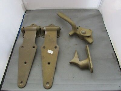 Antique Large Brass Strap Hinge Latch Gate Barn Door 5646 Pat July 19, 21