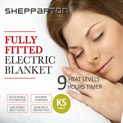 Fleecy Electric Blanket Heated Fully Fitted Washable Fleece Underlay King Single
