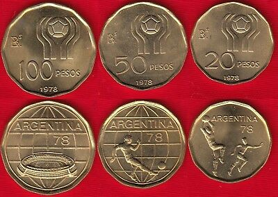 1978 Soccer Worldcup ARGENTINA BLISTER COMMEMORATIVE COINS 20-50-100 Pesos