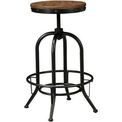 Set of 2 Light Brown Tall Swivel Pub Chair Wood Bar stool Backless Round Seat