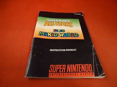 Super Mario All-stars / SM World Nintendo SNES Instruction Manual Booklet ONLY