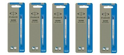 5 X PARKER QUINK BALL PEN POINT REFILLS MEDIUM 1.0 mm BLUE FOR JOTTER , VECTOR