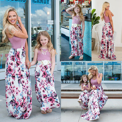 Mother Daughter Summer Boho Floral Maxi Long Dress Family Matching Dress Outfits