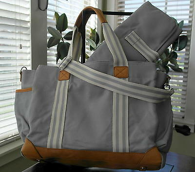 New Pottery Barn Kids Gray Classic Diaper Bag W/ matching changing pad Baby