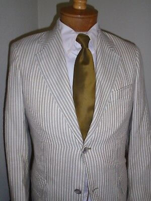 Vintage Nvr Worn SOUTHWICK Homer Reed Tan White Stripe Cotton/Linen SUIT 38-40S