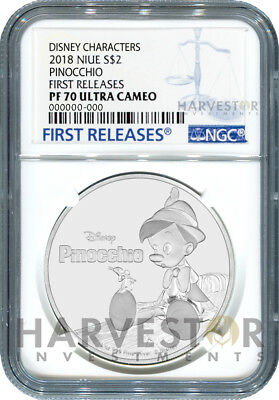 2018 Disney Pinocchio 1 Oz. Silver Coin - Ngc Pf70 First Releases With Ogp & Coa