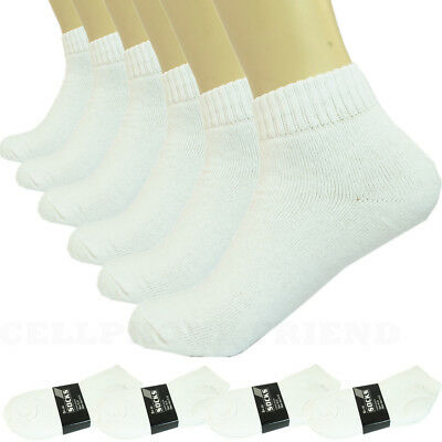 3-12 Pairs White Ankle Quarter Mens Womens Sports Athletic Casual Cotton Socks