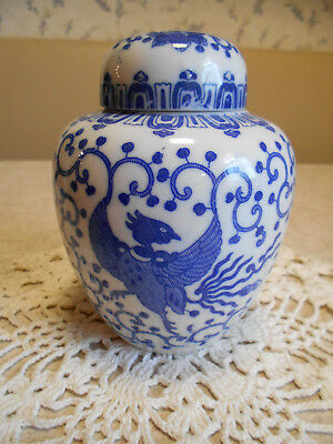 Blue and White Phoenix pattern ginger jar with two lids