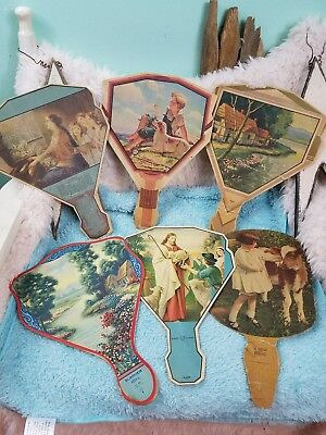 6 Vintage 1920's  Advertising Hand Held Fans Spencer, Indianapolis, Kempton IN