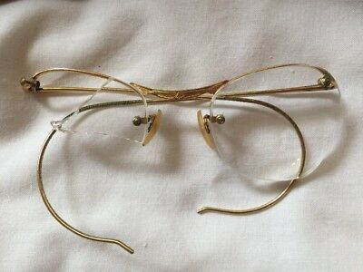 Rare Vintage Gold Semi Rimless Algha GF?  Glasses Spectacle  Frames Retro
