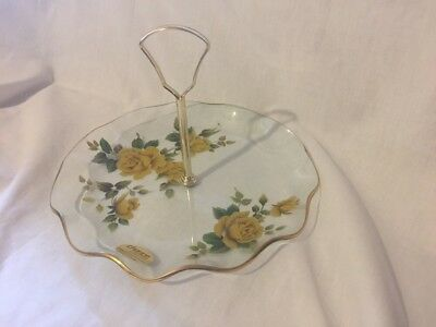 Vintage Chance Glass Fluted Cake Plate, Serving Plate Yellow Roses