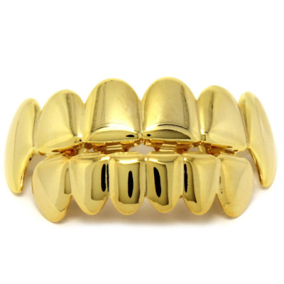 Silver Gold Plated Cluster Custom Slugs Top Bottom Grillz Mouth Teeth Grills Set