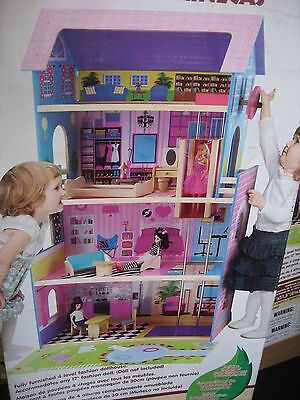 """New"" First Learning.wooden Fully Furnished Fashion Dolls House & Lift..4 Level"