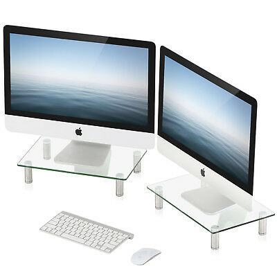 FITUEYES Tempered Glass 2 Tiers Computer Monitor Riser Desk Storage Organizers
