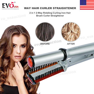 3 in 1 Professional 2-Way Rotating Iron Hair Brush Electric Curler Straightener