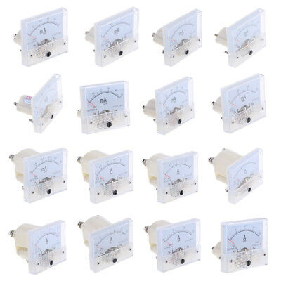 16 Types DC Analog Ammeter Panel AMP Current Meter Amp Meter 0-1mA To 0-20A