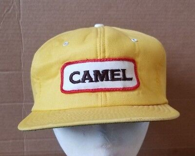 bb147a0129e Vintage Camel Cigarettes Snapback Hat Trucker Cap Embroidered Patch Yellow  READ