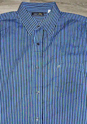 McDonalds Apparel Collection Blue Black Striped Button Down Work Shirt 16.5 LRG