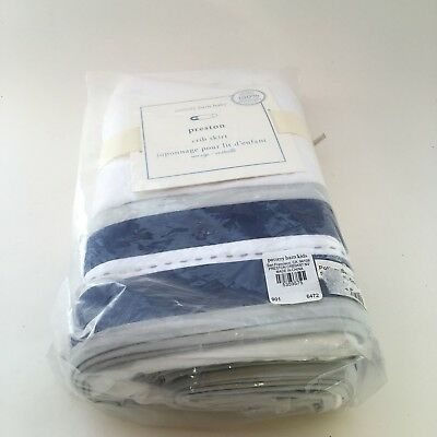 Pottery Barn Baby Preston Crib Skirt 100% Organic Cotton White Blue One Size