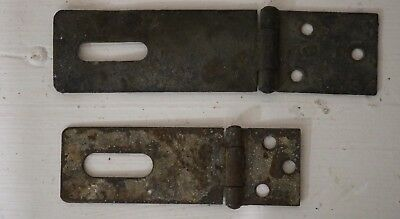 2 - Vintage Antique Hinged Hasp Latch Lock Gate Door Barn Hardware