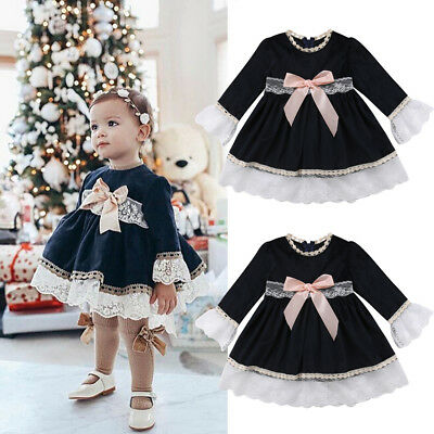 Flower Lace Girl Dress Baby  Pageant Party Bridesmaid Dress Outfits Clothes