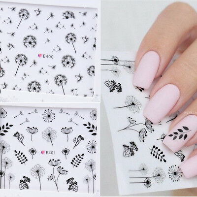 2 Sheets 3D Nail Sticker Dandelion Flower Adhesive Nail Art Transfer Decals Tips