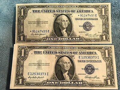 """1935-E two $1 Silver Certificate Notes - one is """"Star note"""""""