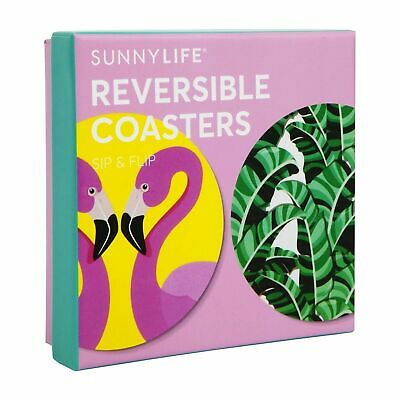 SUNNYLIFE REVERSIBLE COASTERS SET OF 16 Reusable Gloss Coated Cardboard TROPICAL
