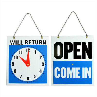 Business Open Sign w/ Return Clock Double Sided Metal Chain and Adjustable Hands