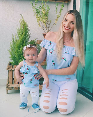 USA Family Matching Outfit Mother&Daughter Floral Stripe Tops Hole Pants Clothes