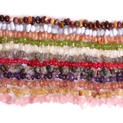 "5-8mm Natural Freeform Chip Stone Craft Beads For Jewellery Making Strand 34"" CA"