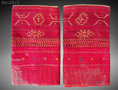 a pair of antique Woman's Silk embroidered Cuffs Afghanistan Paktya Mangal -18/C