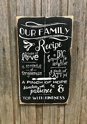 OUR FAMILY RECIPE H50CM X W30CM -  Rustic Vintage Style Timber Sign